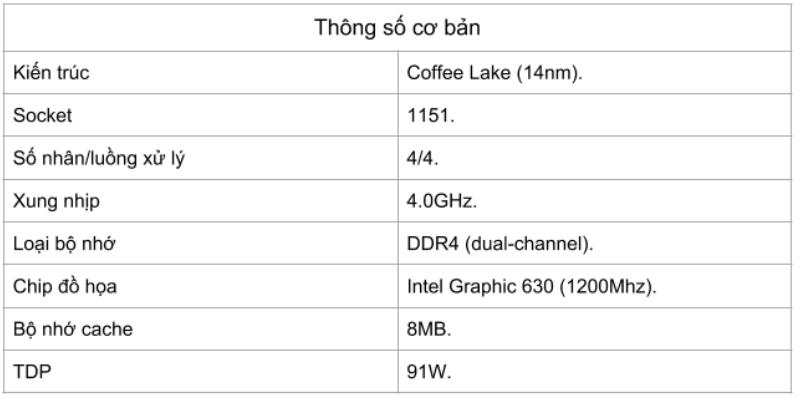 Đánh giá bộ vi xử lý Intel Core i3-8350K - Thông số ky thuật